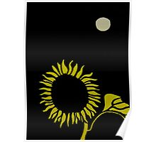 Sunflower Under the Moon Poster