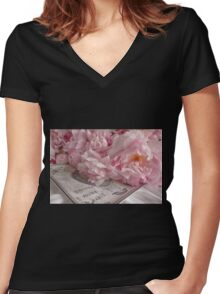 Paris Peonies Women's Fitted V-Neck T-Shirt
