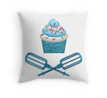 Cupcake & Crossed Beaters In Blue Throw Pillow