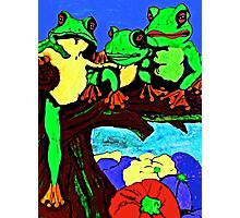 Frog Family Hanging Out On A Limb 3 Photographic Print