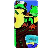 Frog Family Hanging Out On A Limb 3 iPhone Case/Skin