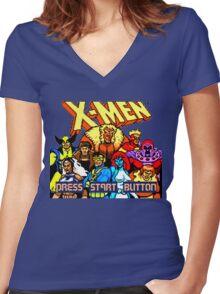 X-MEN Retro Game Design Women's Fitted V-Neck T-Shirt