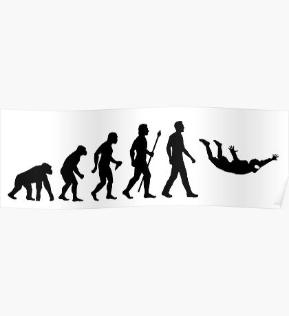 Funny Skydiving Evolution Of Man Poster