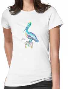 Pelican watercolor Womens Fitted T-Shirt