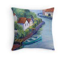 Along the Canal (Acrylic) Throw Pillow