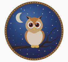 Brown Owl in Blue Night Sky by starstreamdezin