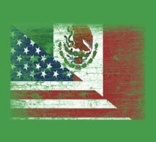 Vintage Mexican American Flag Cool T-Shirt Baby Tee