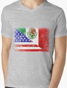 Vintage Mexican American Flag Cool T-Shirt Mens V-Neck T-Shirt
