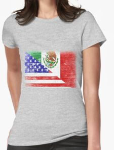 Vintage Mexican American Flag Cool T-Shirt Womens Fitted T-Shirt