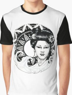 geisha girl mandala Graphic T-Shirt