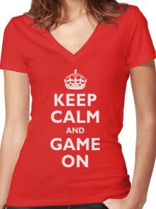 Wax On and Game On Women's Fitted V-Neck T-Shirt