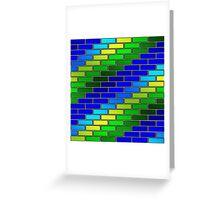 BRICK WALL-2 (Blues & Greens)-(9000 x 9000 px) Greeting Card