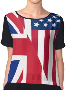 American and Union Jack Flag Chiffon Top