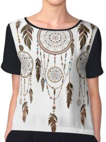 Native American Dreamcatcher Feathers Pattern Chiffon Top