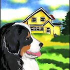Bernese Mountain Dog With House by IowaArtist