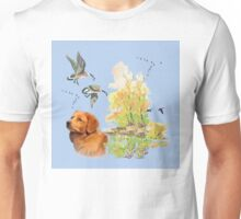 Duck Toller Retriever with fall scene Unisex T-Shirt