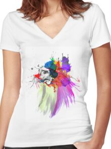 Sad Face Women's Fitted V-Neck T-Shirt