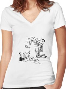 calvin and hobbes b N w Women's Fitted V-Neck T-Shirt