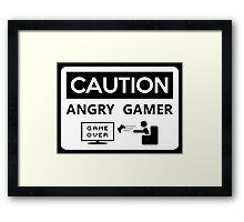 Game Over Caution Angry Gamer Framed Print