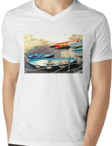 Boats by the beach Mens V-Neck T-Shirt