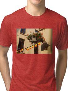 Brussels, Belgium - Flowers, Flags, Football Tri-blend T-Shirt