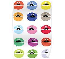 Mustache macarons Poster
