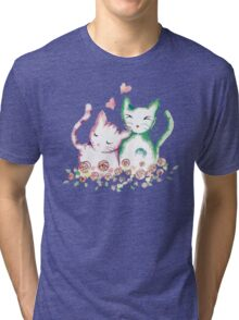 Love Cats Watercolor Tri-blend T-Shirt