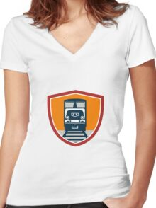 Diesel Train Freight Rail Crest Retro Women's Fitted V-Neck T-Shirt