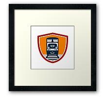 Diesel Train Freight Rail Crest Retro Framed Print