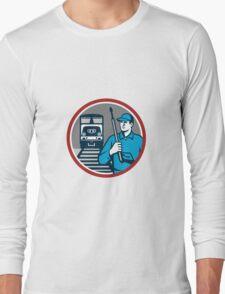 Pressure Washer Train Rail Circle Retro Long Sleeve T-Shirt