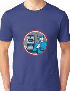 Pressure Washer Train Rail Circle Retro Unisex T-Shirt