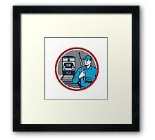 Pressure Washer Train Rail Circle Retro Framed Print