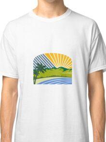 Tropical Trees Mountains Sea Coast Retro Classic T-Shirt