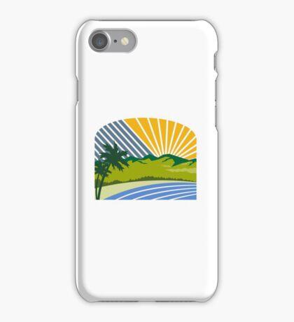 Tropical Trees Mountains Sea Coast Retro iPhone Case/Skin