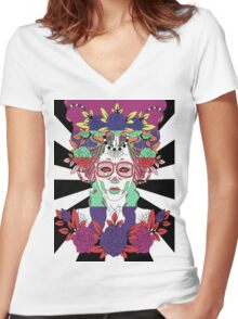 Colorful Day of the Dead Women Women's Fitted V-Neck T-Shirt