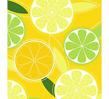 Yellow Citrus: Citrus fruit background vector Photographic Print