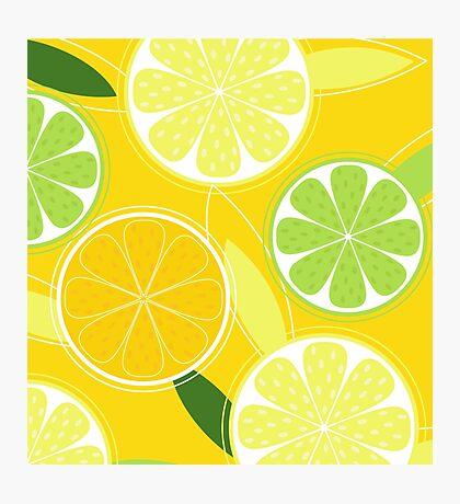 Yellow Citrus: Citrus fruit background vector Photographic Print