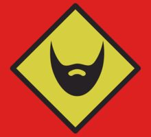BEWARE beard yellow sign One Piece - Short Sleeve