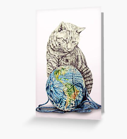 Our feline deity shows restraint Greeting Card