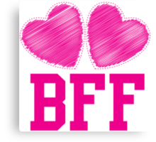 BFF with cute love hearts Canvas Print