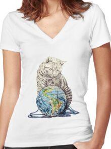 Our feline deity shows restraint Women's Fitted V-Neck T-Shirt