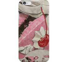 Cherry and chocolate cake on grey track pants iPhone Case/Skin