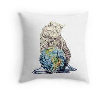 Our feline deity shows restraint Throw Pillow