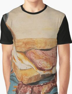 Egg and bacon sandwich on blue hoodie Graphic T-Shirt