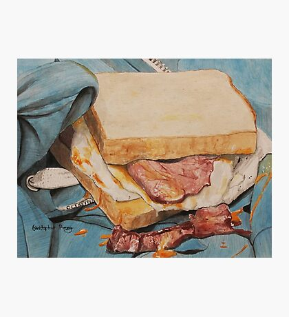 Egg and bacon sandwich on blue hoodie Photographic Print