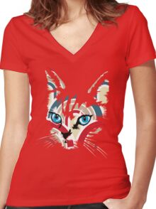 POP ART CAT Women's Fitted V-Neck T-Shirt