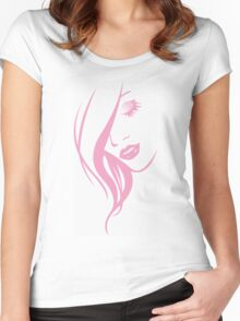 Pink Girl Face Portrait Women's Fitted Scoop T-Shirt