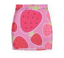 Stylized texture of red strawberry Mini Skirt
