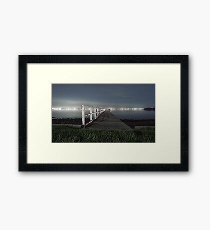 Jetty on Lake Framed Print