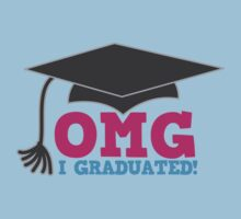 OMG I graduated with mortar board graduation hat pink One Piece - Short Sleeve